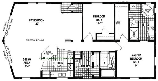 Big bear cabin 2br 2ba 1343 sq ft cutting edge for 3br 2ba floor plans